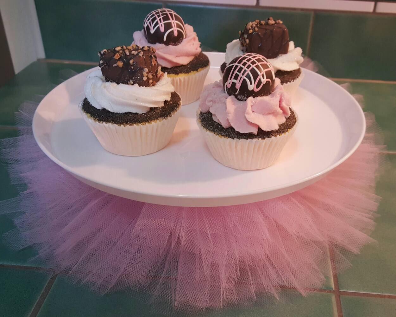 Cake Stand Tutu Princess Pink Tulle Plate Cupcake Dessert