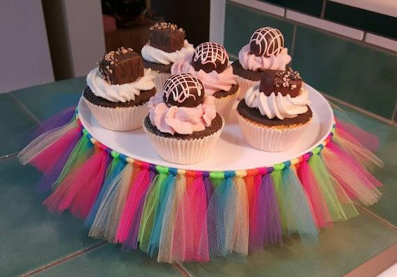 Cake Stand Tutu Rainbow Cupcake Tulle Skirt Baby Shower 16