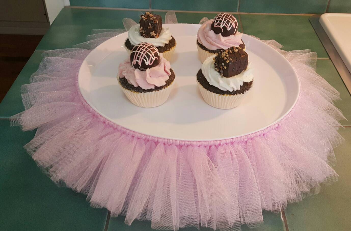 Cake Stand Tutu Pink Cupcake Tulle Skirt Decorations Baby