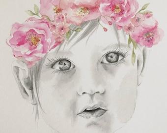 Custom Watercolour Portrait (black and white)