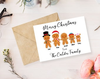 pack of 10 personalised christmas cards gingerbread family card family christmas card personalised christmas card christmas family cards