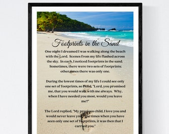 FOOTPRINTS in THE SAND   Unframed Art Print    Free Shipping 