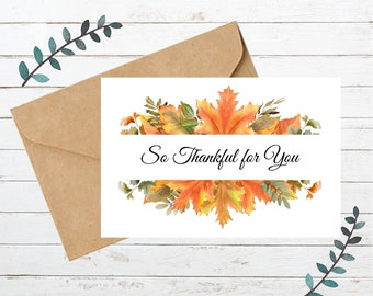 Printable THANKSGIVING Card 2   Blank Note Card   Instant Download  