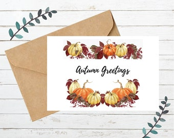 Printable AUTUMN GREETINGS Card   Blank Note Card   Instant Download   Digital