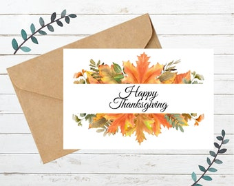 Printable THANKSGIVING Card 1   Blank Note Card   Instant Download  