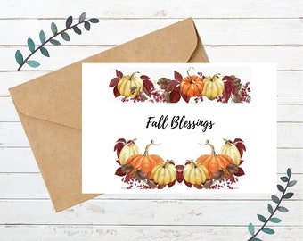 Printable FALL BLESSINGS Card   Blank Note Card   Instant Download   Digital