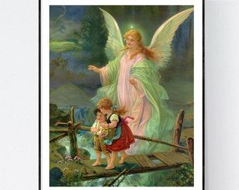 GUARDIAN ANGEL Art Print   8x10 Unframed   Free Shipping  