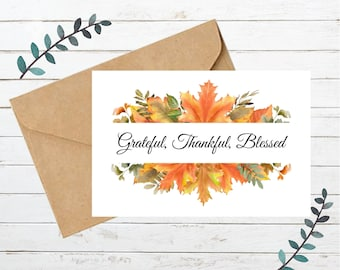 Printable THANKSGIVING Card 4   Blank Note Card   Instant Download  