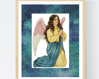 PRAYING ANGEL   Unframed Print   8 X 10 Inches   Free Shipping  