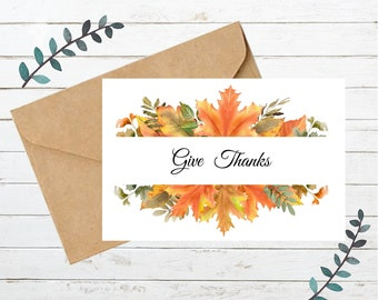 Printable THANKSGIVING Card 3   Blank Note Card   Instant Download  