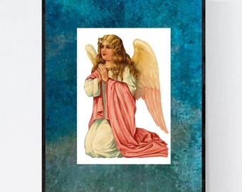 CHRISTMAS ANGEL Print 6   Unframed Print   8 x 10 Inches   Free Shipping  