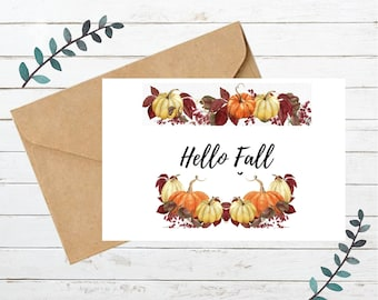Printable HELLO FALL Card   Blank Note Card   Instant Download   Digital
