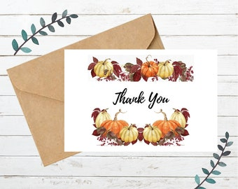 Printable FALL THANK YOU Card   Blank Note Card   Instant Download   Digital