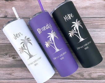 Personalized Vacation Tumbler, Family Vacation Cups, Beach Vacation Tumbler, 2021 Family Trip Gift, Bachelorette Trip, Girls Trip Tumbler