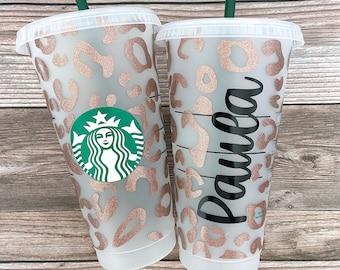 Animal Print Starbucks Cup, Cheetah Print Reusable Starbucks Tumbler, Leopard Print Venti 24 0z Cup, Personalized Starbucks Cold Cup