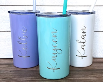 Kids Personalized Laser Engraved Tumbler, Kids Custom Tumbler with Straw, Skinny Tumbler with Name, Kids Cup