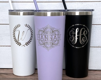 Personalized Tumbler, Monogram Tumbler, Insulated Tumbler, Personalized Tumbler with Straw, Personalize Cup with Straw, Laser Engraved