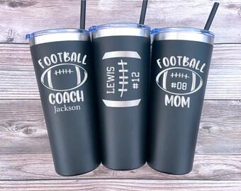 Personalized Football Tumbler, Football Mom Tumbler, Football Coach Gift, Football Player Gift, Football Dad Tumbler, Football Team Gift