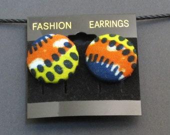 Kente Button Earrings