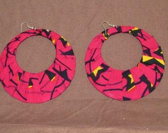 Large kente wrapped earrings