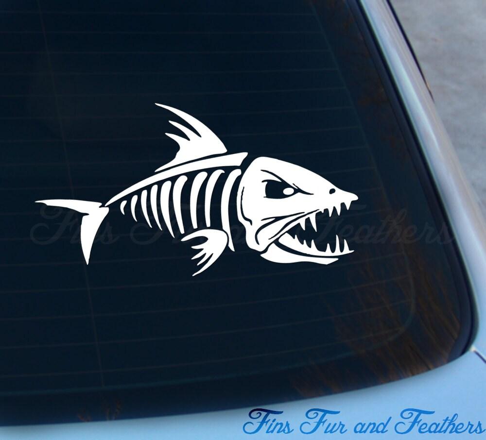 Skeleton Fish Decal Skeleton Fish Sticker Saltwater Etsy