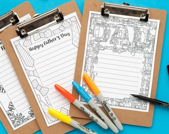 Father's Day Stationery – 3 printable letterheads to color and send to Dad | Printable PDF letterhead template for adults and kids