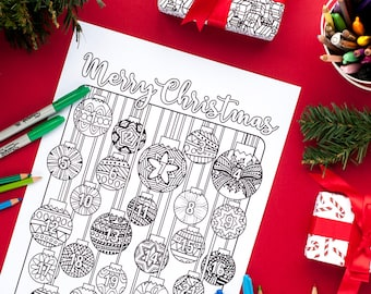 christmas coloring advent calendar printable 85x11 pdf download xmas coloring page countdown for - Coloring Christmas Cards 2