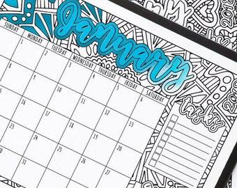 PRINTABLE 2018 CALENDAR: Coloring Calendar PDF, 2018 Monthly Calendar, 2018 Calendar Pdf, Printable Wall Calendar, 2018 Month Calendar Pdf
