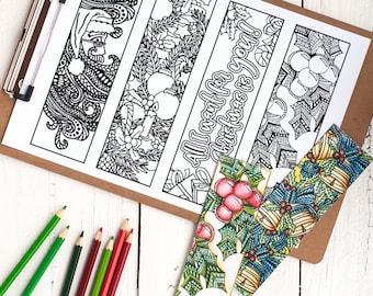 coloring christmas bookmarks x12 printable christmas bookmark coloring pages 85x11 pdf christmas - Coloring Christmas Cards 2