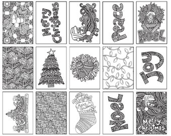 Christmas Coloring Bookmarks X12 Etsy