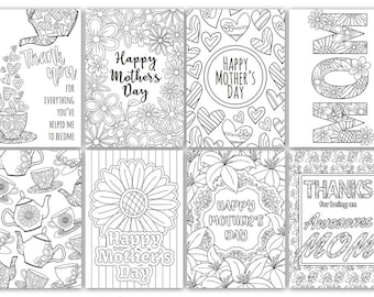 Mothers day cards 8 printable mothers day card etsy mothers day coloring cards 8 printable mothers day card templates coloring cards mom printable card mothers day gift coloring page maxwellsz