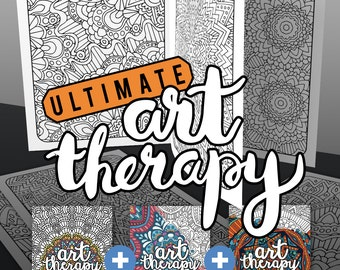 Art Therapy Printable Adult Coloring Book Downloadable Pdf Etsy