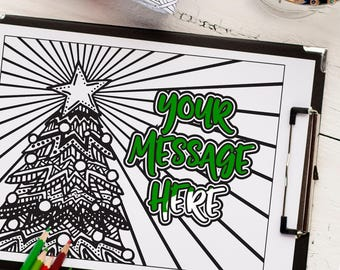Custom Christmas Tree Coloring Page From Your Message
