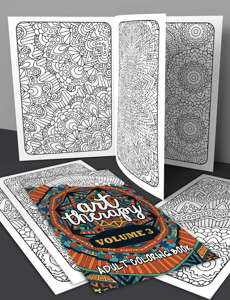 Adult Coloring Book  Art Therapy Volume 3  Printable image 0