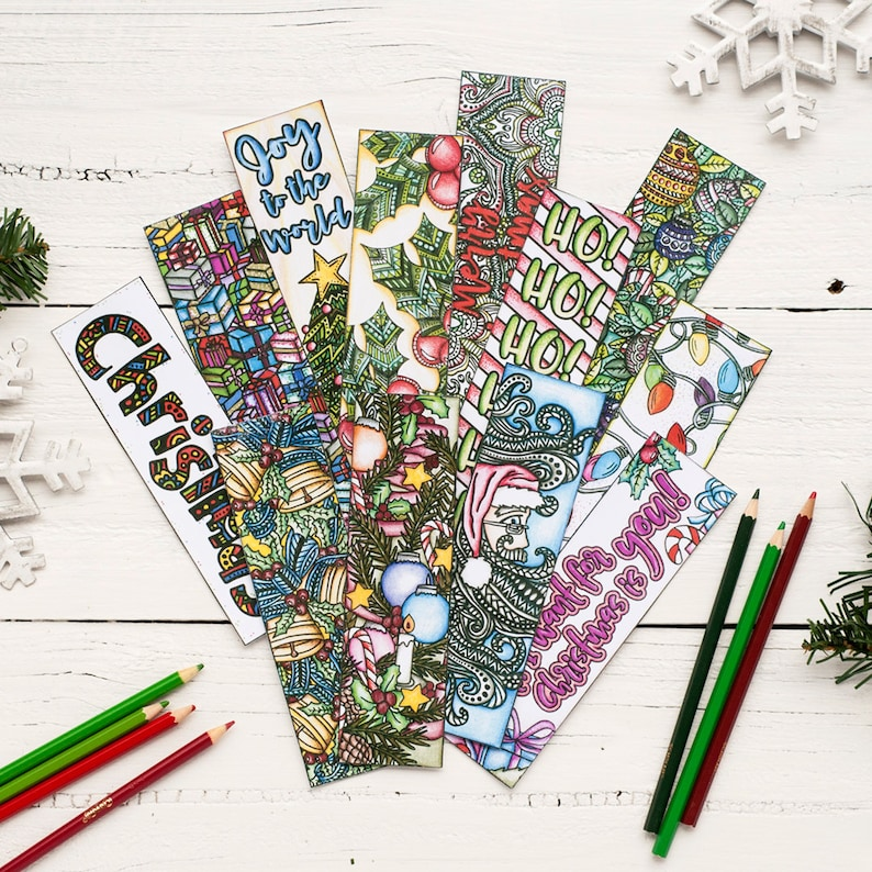 photo about Printable Christmas Bookmarks called Xmas Coloring Bookmarks x12 - Printable 8.5x11 PDF Down load - Printable Xmas Coloring webpages with 12 bookmarks in the direction of print and shade
