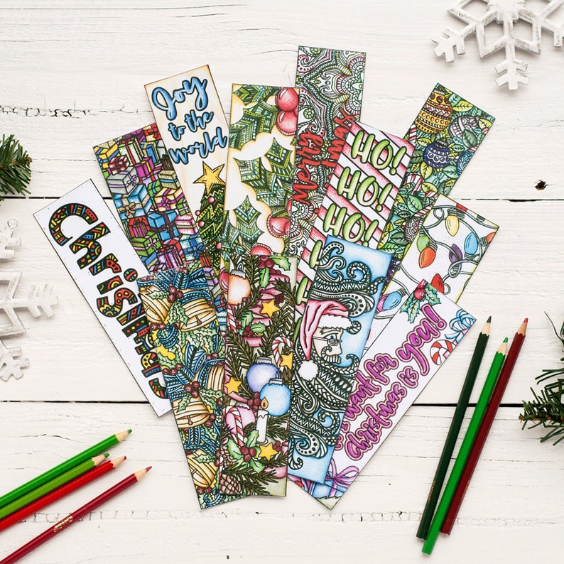 image relating to Printable Christmas Bookmarks called Xmas Coloring Bookmarks x12 - Printable 8.5x11 PDF Down load - Printable Xmas Coloring internet pages with 12 bookmarks towards print and coloration