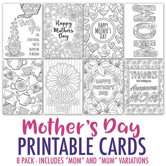 mother 39 s day coloring cards 8 printable mother 39 s day etsy. Black Bedroom Furniture Sets. Home Design Ideas