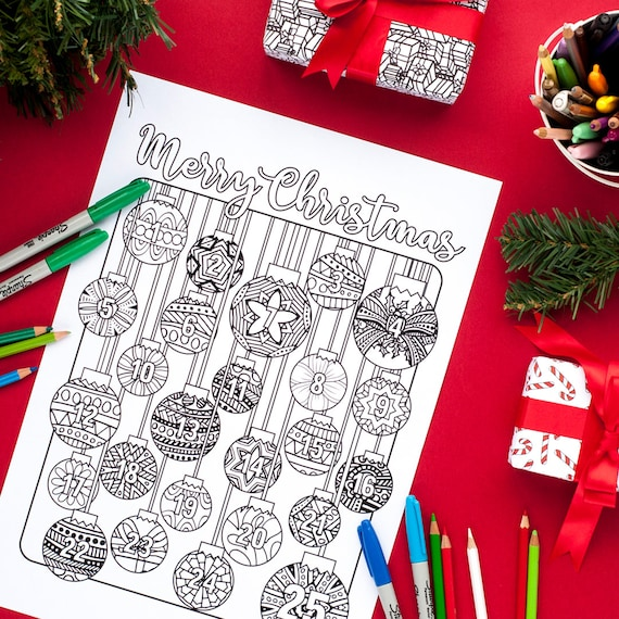 Christmas Coloring Advent Calendar  Printable 8.5x11 PDF