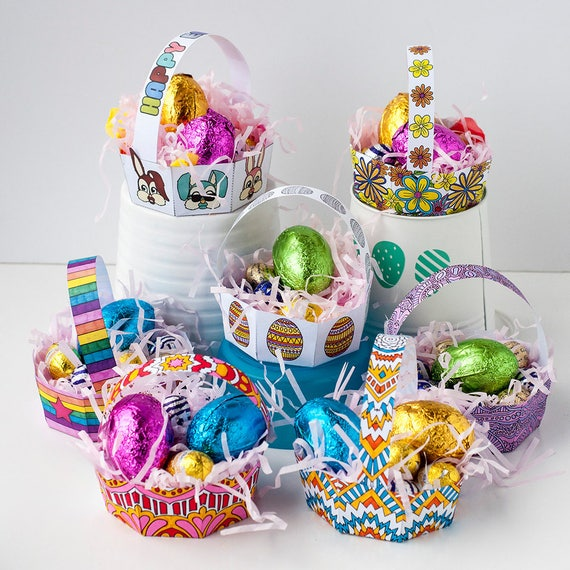 image about Easter Basket Printable called PRINTABLE EASTER BASKETS - 8 Pack - Printable Easter basket template, Easter printable, do it yourself Easter egg basket, Easter match printables
