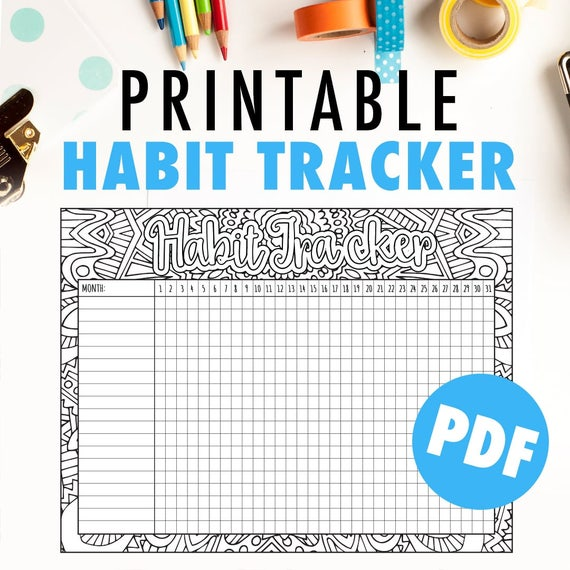 picture relating to Goal Tracker Template identify Practice Tracker Printable Regular monthly practice tracker or purpose tracker template printable PDF program + observe your aims or routines. 8.5x11\
