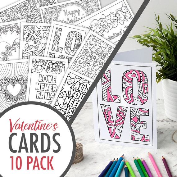 Valentine's Day Coloring Cards – Set of 10 Printable Greeting Cards for a  Valentine\'s Day Gift | Printable cards | Valentine cards PDF pack