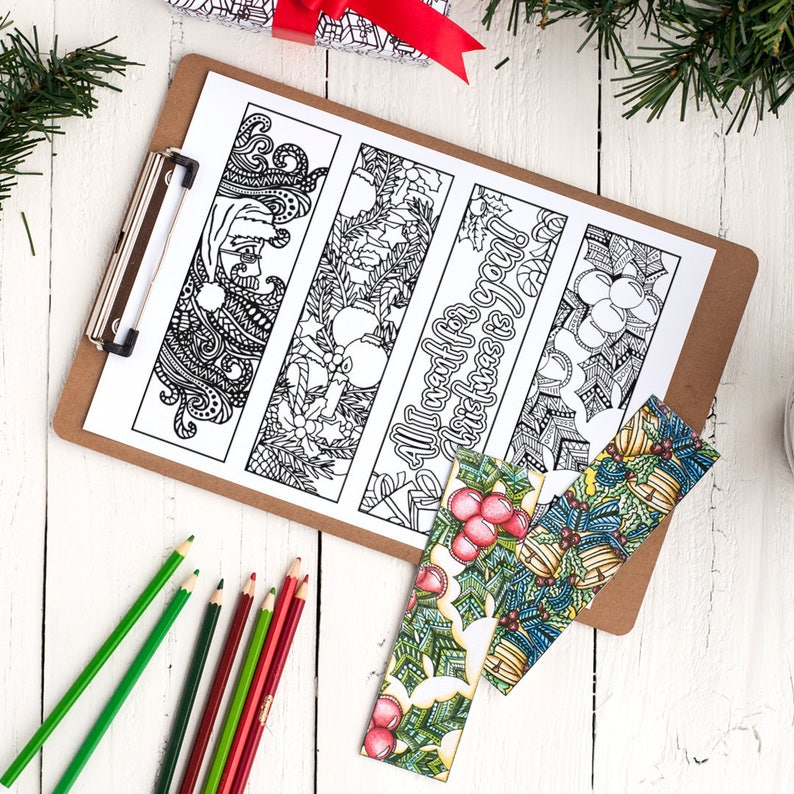 picture regarding Printable Christmas Bookmarks referred to as Coloring Xmas Bookmarks x12 Printable Xmas bookmark coloring internet pages 8.5x11 PDF Xmas reward or clroom Christmas match
