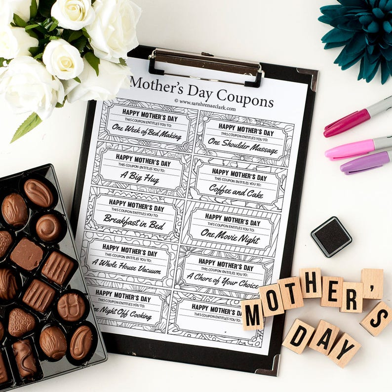 picture regarding Tim Hortons Coupons Printable known as Moms Working day Printable Discount codes 10 Printable Coupon codes toward colour and offer you towards Mother / Mum Printable PDF Moms Working day reward coupon template