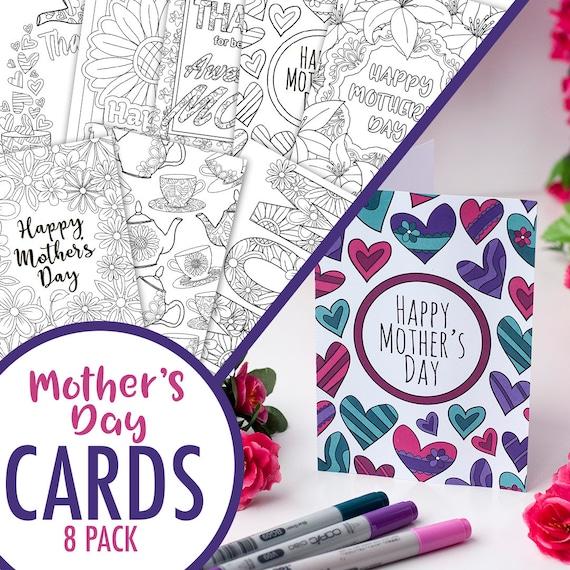 Tarjetas de día de la madre para imprimir para colorear 8 | Etsy