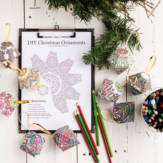 Christmas Ornament Template Set Of 10 Printable Coloring Etsy
