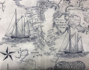 World map fabric etsy seven seas globes world map fabric novelty fabric world map globe countries cotton fabric ships navy blue fabric gumiabroncs Gallery