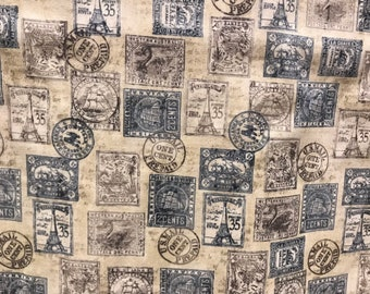 Post Office Postage Stamps Fabric Novelty Cotton Vintage Style Air Mail US