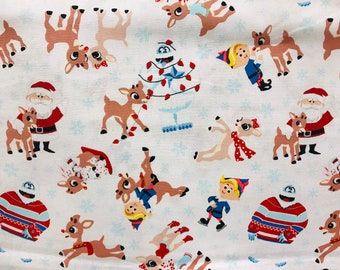 rudolph the red nosed reindeer winter holiday christmas scene fabric winter christmas fabric holiday fabric vintage christmas character