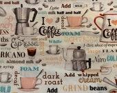 Coffee house fabric, novelty fabric, espresso, coffee cup, coffee grinder, I love coffee fabric