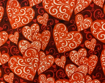 BTY* QUILTING TREASURES LOVE BUGS SCROLL HEART FABRIC VALENTINE/'S DAY ROMANTIC